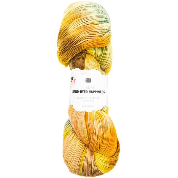 Rico Design Luxury Hand-Dyed Happiness dk 100g, 390mLL, gelb-grün